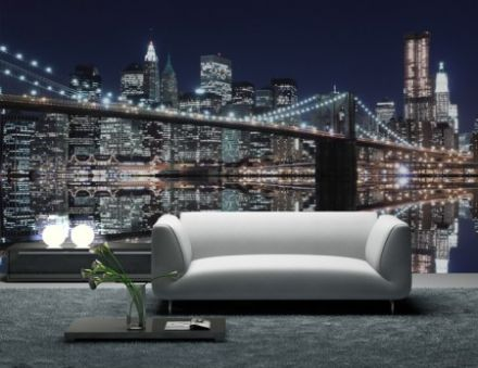 XL New York Brooklyn Bridge lights wall mural